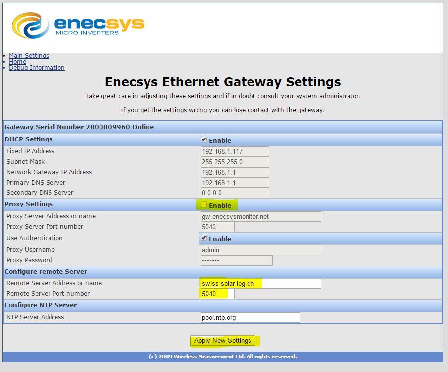 1st Gen Reporting to EmonCMS - Swiss Solar Log